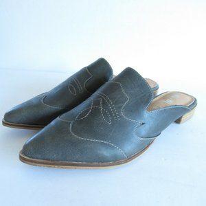Mi.im Mules Leather Western Cowboy Boot Flats